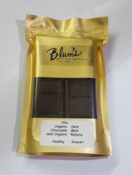 Ingredients: ORGANIC BITTERSWEET CHOCOLATE:(Organic Chocolate Liquor, Organic Cane Sugar, Organic Cocoa Butter, Soy Lecithin (Emulsifier), Organic Vanilla Extract).  CALIFORNIA ORGANIC RAISINS.