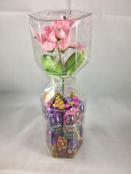 Pink Flower Bouquet with Milk chocolate Bunnies
