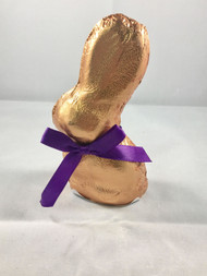 2oz Gold Foiled Milk Chocolate bunny w/ purple bow