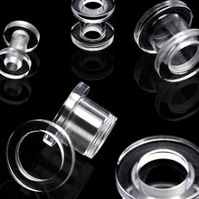 0g Clear Screw PLUGS ear gauges stretching tunnels -PAIR
