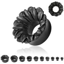 1 PAIR of Organic Black Wood Hand Carved Lotus Flower Ear Plugs Gauges