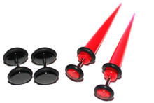 2 PAIRS of Red Tapers and Black Fake Ear Cheater Plugs Gauges 16g
