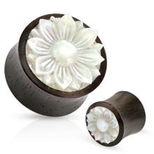 Pair of Organic Wood Plugs Ear Gauges Mother of Pearl Lotus Flower 00g 1/2 5/8 10mm 12mm 16mm