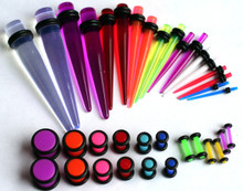 1 36pc UV Tapers Neon Plugs Gauges Ear Stretching Kit 00G-14G gauges