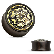 PAIR of Organic Black Wood Hand Carved Tribal Brass Flower Ear Plugs Gauges 2g 0g 00g 1/2