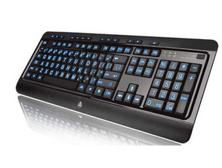 AZIO KB505U Large Print Tri-Color Illuminated Black USB Keyboard