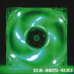 EverCool CLB-8025-4LD3 80x25mm 4 LED Fan (Green)