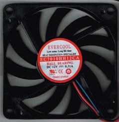 EverCool EC7010HH12CA 70x70x10mm High Speed Ball Bearing Fan, 3Pin