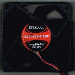 EverCool EC7025SH12BP 70x70x25mm 12v Dual Ball 4Pin PWM Fan
