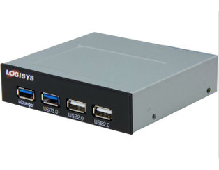 LOGISYS FP302BK 2XUSB3.0/2XUSB2.0 Panel 3.5inch Bay Panel