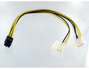 6Pin (F) PCI Express to 4Pin Molex (M) Convertor Cable, (6inch)