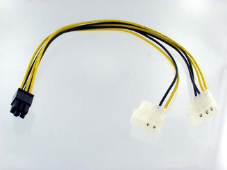 6Pin (F) PCI Express to 2 x 4Pin Molex (M) Convertor Cable, 12inch
