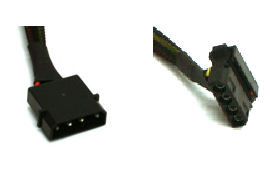 16inch 4pin (M) to Dual 90 deg 4Pin (F) Cable, Black Sleeved