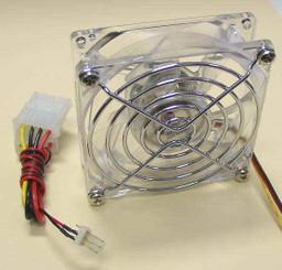 GALAXY Crystal 80x25mm Ballbearing Blue LED Fan W/ Thermal Control