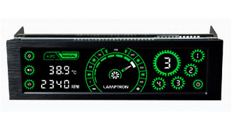 Lamptron CM430 4Ch 30W/Ch 5.25inch Bay Touch Fan Controller (Green)