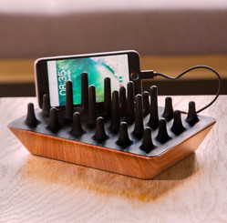 GELID SOLUTIONS Zentree Black Wooden Multiple Device Charging Station for Smart Home