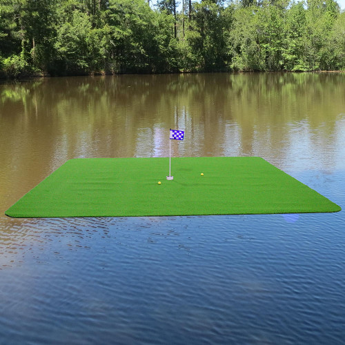 Included are the tee box, floating balls, premium practice green flag, regulation cup and detailed instructions. Estimated assembly time is 20 to 30 minutes.  Need a Custom Size? Call 800-490-2971