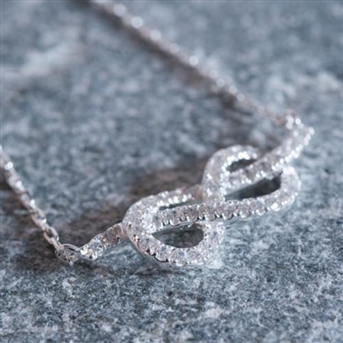 Sterling Silver Cubic Zirconia Infinity Bracelet