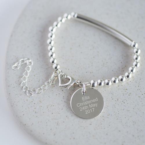 Sterling Silver Personalised Christening Bracelet