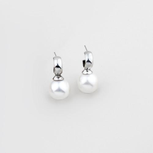 Miglio Lustrous White Shell Pearl Drop Earrings