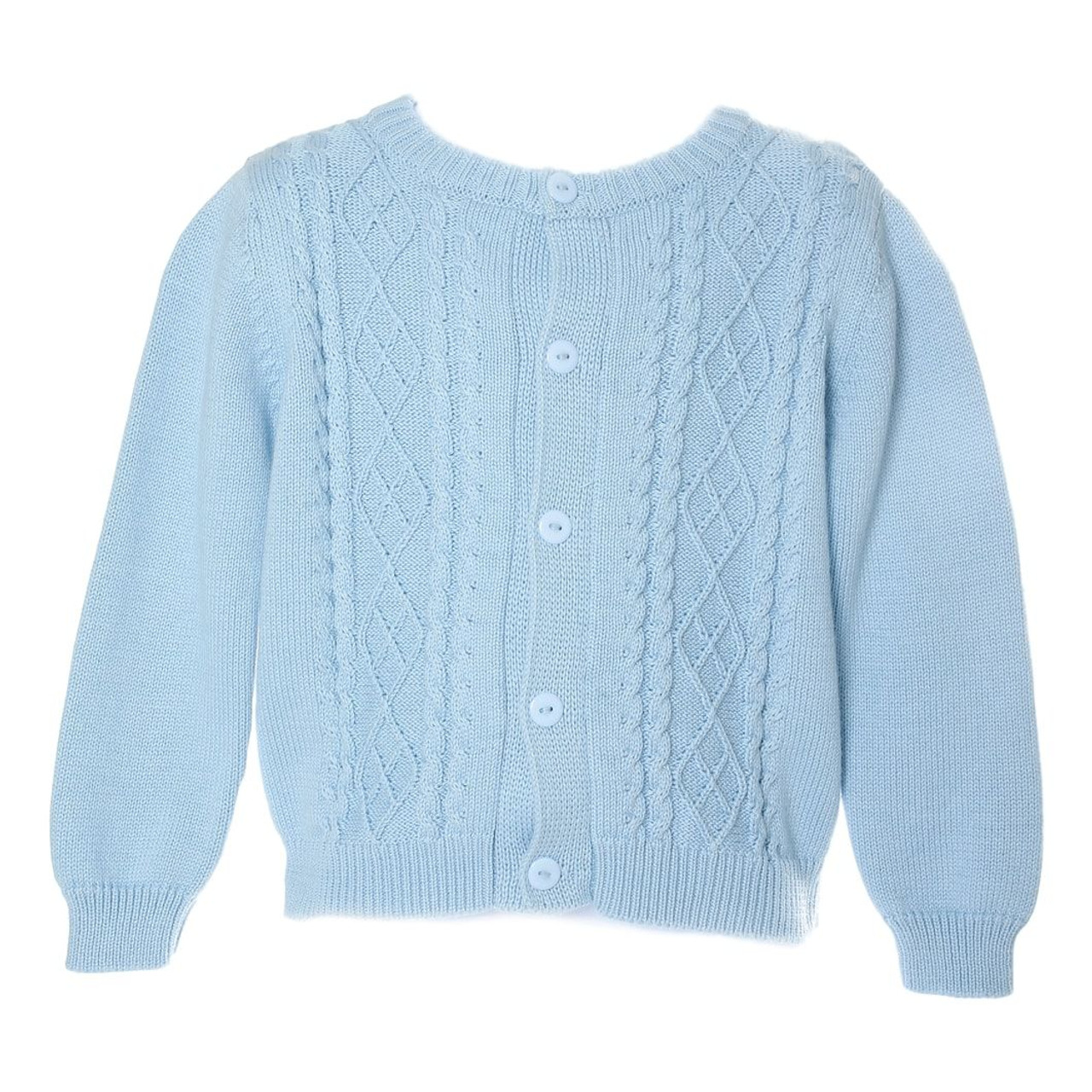Blue Cable Knit Sweater - Smocked Threads by Cecil & Lou