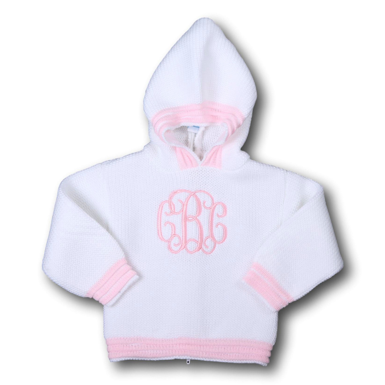 White and Pink Hooded Sweater - Smocked Threads by Cecil & Lou