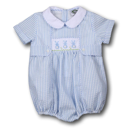 Blue Seersucker Embroidered Bunny Tab Bubble