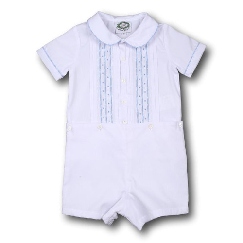 White Pique with Blue Embroidery Button-On Suit