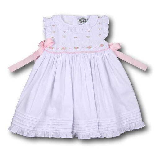 White Pique Pink Geometric Smocked Ribbon Dress