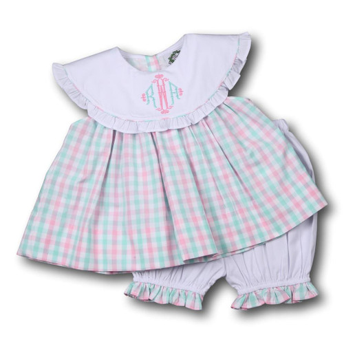 Pink and Mint Check Ruffle Bloomer Set