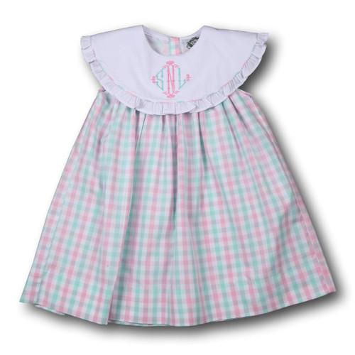 Pink and Mint Check Ruffle Dress