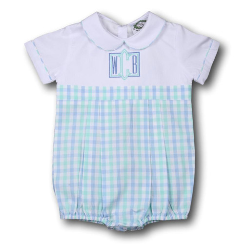 Mint and Blue Check Boys Bubble