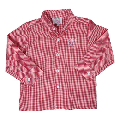 Red Gingham Button Down-min by Cecil and Lou - Adorable Kids Clothing