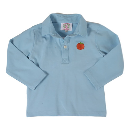 Blue Knit Pumpkin Polo