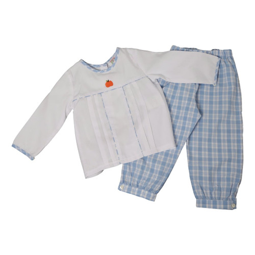 Blue Plaid Embroidered Pumpkin Pant Set