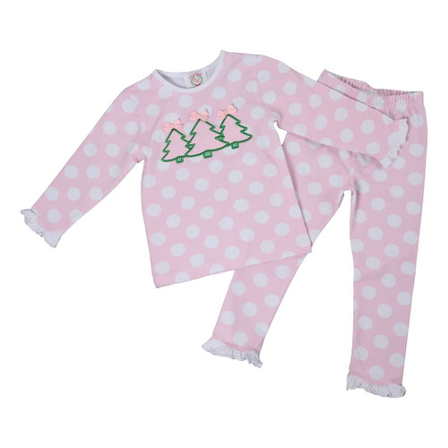 Pink Dot Knit Applique Tree PJs