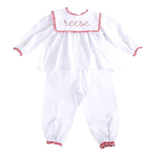 White Girls Lounge Wear Set with Square Collar and Red Gingham Trim