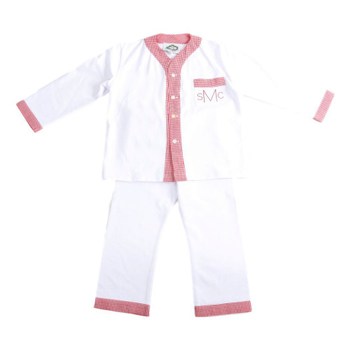 White Boys Loungewear with Red Gingham Trim by Cecil and Lou