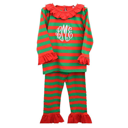 Red and Green Stripe Ruffle Knit PJs