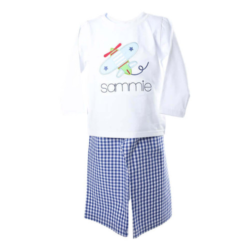Blue Check Applique Airplane Pant Set by Cecil and Lou