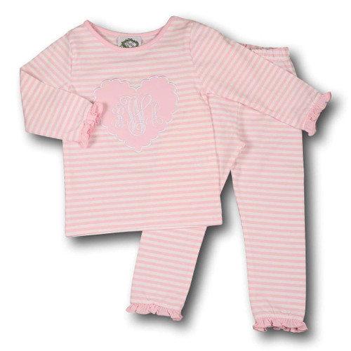 Pink Mini Stripe Heart Loungewear by Cecil and Lou - Children's Monogrammed Valentine's Day Clothes