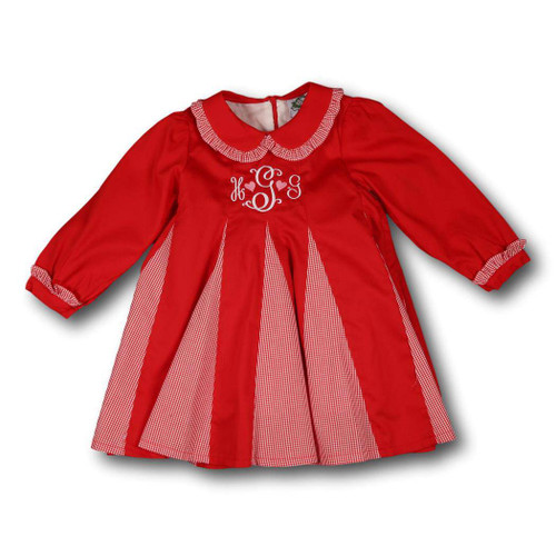 Red Pique and Gingham Inverted Pleat Dress by Cecil and Lou - Children's Monogrammed Valentine's Day Clothes