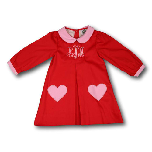 Red Pique Dress with Heart Pockets by Cecil and Lou - Children's Monogrammed Valentine's Day Clothes