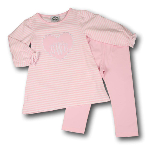 Knit Scallop Heart Pant Set by Cecil and Lou - Children's Monogrammed Valentine's Day Clothes