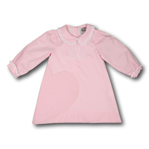Pink Cotton and Eyelet Heart Dress by Cecil and Lou - Children's Monogrammed Valentine's Day Clothes