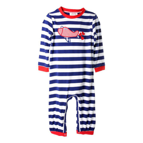 Navy Stripe Knit Heart Airplane Romper by Cecil and Lou - Children's Valentines Clothing
