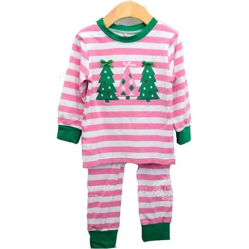 Pink Stripe Knit Tree Pajamas by Cecil and Lou