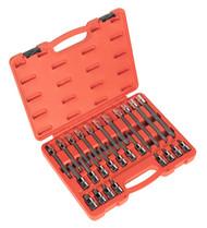 """Sealey AK2195 Spline Socket Bit Set 26pc 1/2""""Sq Drive"""