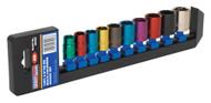 """Sealey AK285 Multi-Coloured Socket Set 10pc 3/8""""Sq Drive 6pt WallDriveå¬ Metric"""