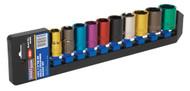 """Sealey AK288 Multi-Coloured Socket Set 10pc 1/2""""Sq Drive 6pt WallDriveå¬ Metric"""